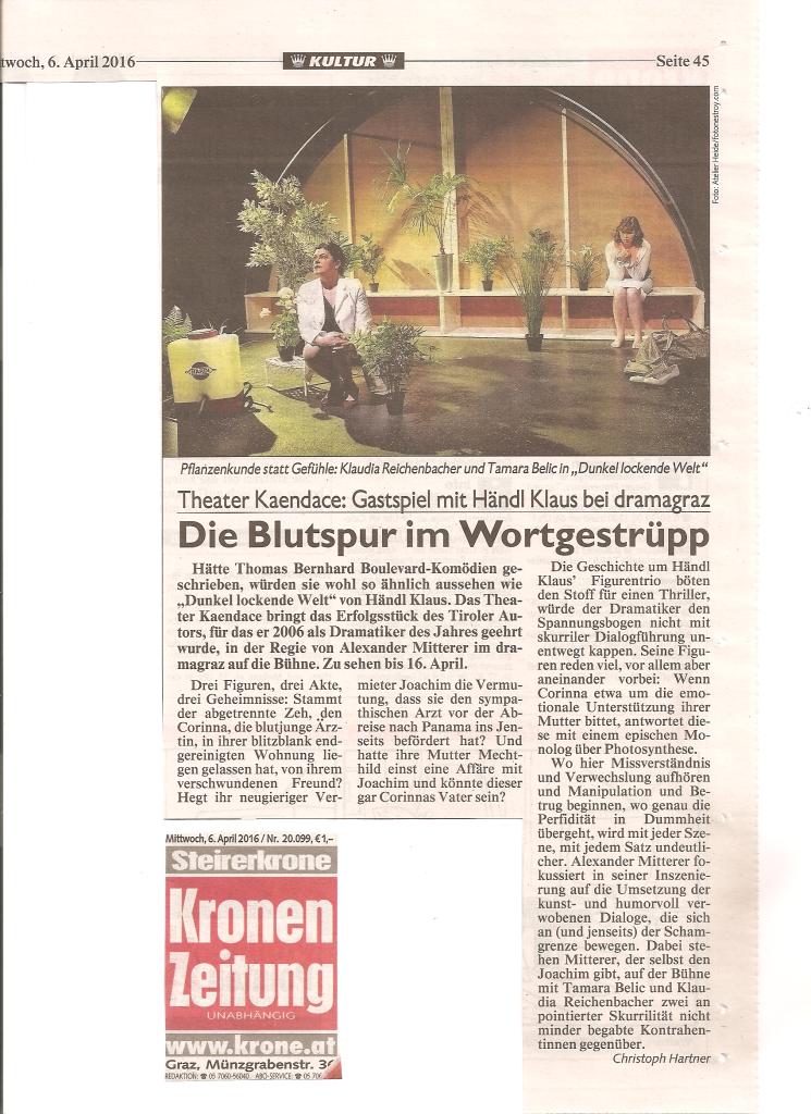 Dunkel lockende Welt Kritik Kronen Zeitung