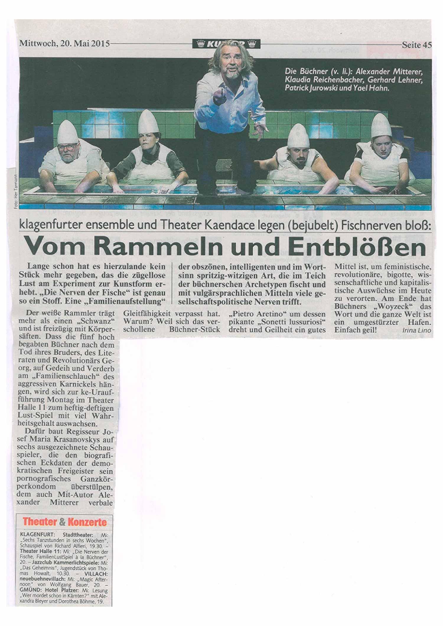 Die-Nerven-der-Fische_Kritik_Kronenzeitung | Theater Kaendace